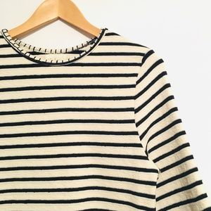 Anthropologie Deletta Navy Ivory Flare Sleeve - M